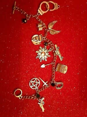 SUPERNATURAL BRACELET WITH SAM DEAN CASTIEL BOBBY AND CROWLEY ITEMS  Silver 4