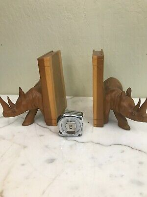 Wood Carved Rhino Book Ends 7