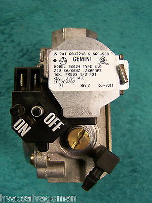 White Rodgers Gemini gas valve 36G24 Type 510 Carrier EF32CW207