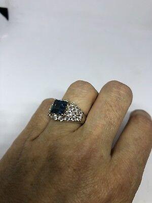 Deco Genuine London Blue Topaz Vintage 925 Sterling Silver Size 7 Ring 4