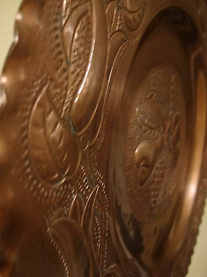 Vtg Solid Heavy Copper  Plate Ornate Great Fruit Flowers Unique Nice 6