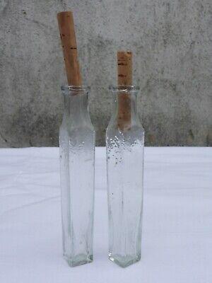 2 x alte kleine Medizin Glas Apotheke Apotheker Flasche grün lang ca. 9,5 cm 6