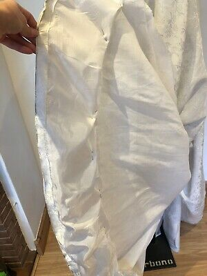 Pretty Vintage 1950s Bridal Wedding Dress with Bustle Off White Damask 8 10 10