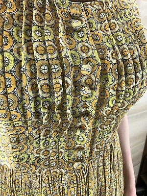 Vintage 40s 50s Yellow Full Skirt Geometric Cotton Casual Party Dress S M 6