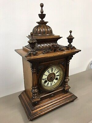 Victorian Black Forest Golden Oak 14 Day Mantle Clock By H.a.c. Working. 3
