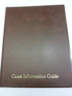 Qty 7 GUEST INFORMATION GUIDE PVC FOLDER 14 A4 POCKETS REF BROWN/GOLD 3