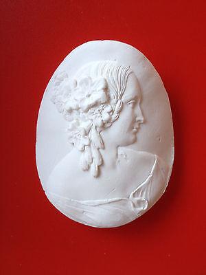 2 Grand Tour Cameo intaglio Gem Medallion plaster seal Victorian Ladies Portrait 2