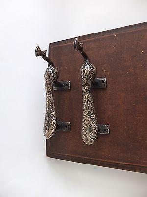 Vintage Antique Style Bird Solid Brass Pair Of Door Handles Pulls 2