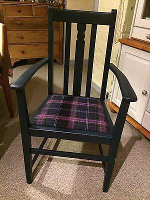 Painted Vintage Oak Carver with 100% Wool Tartan Seat - navy 2