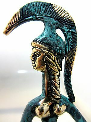 Ancient Greek Bronze Museum Statue Replica Athena Wth Shield & Spear Collectable 5