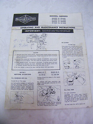 Vintage Briggs & Stratton Operating and Maintenance Instructions 3