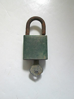 Antique 1920's ILCO padlock with key brass monogram 2