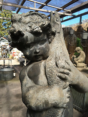 Lead Fountain Figure of a Boy holding a Pike , Antique Garden Fountain Figure 3