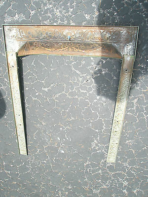 Antique Ornate Raised Relief Brass Gold Tone Metal Fireplace Surround Grate 11