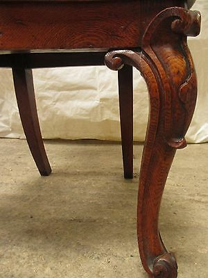 Quality pair of carved golden Oak hall chairs with pierced shaped back (ref 141) 12