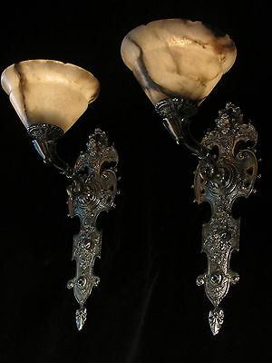 wall lights pair silver plate SOLID BRONZE & REAL ALABASTER INDUSTRIAL LIGHTS 8