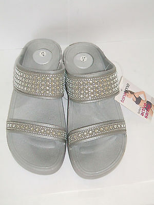 b3f570725630 TONETIME SIZE 2 3 4 5 6 7 8 Silver Tone Up Toning Active Flip Flops ...