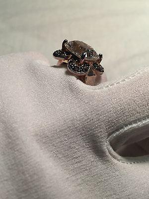 Vintage Genuine Clear Quartz Smoky Topaz 925 Sterling Silver Size 8 Ring 8