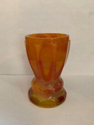Lithyalin_Glasbecher_Böhmen_gelb/oranges marmoriertes Glas_Egerman_1830-1850 2