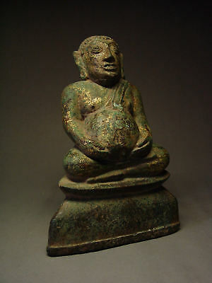 RARE SOUTHEAST ASIA GILDED BRONZE BUDDHIST DISCIPLE 'PHRA SANGKAJAI' 18th C.