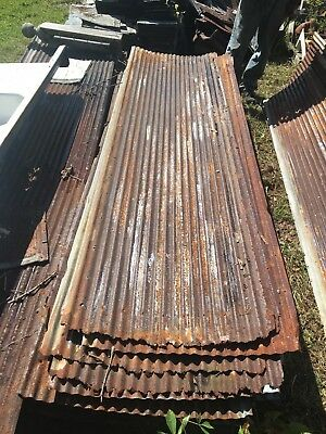 Vintage 10 ft Corrugated Roof Panel Tin Old Rusty Metal Restaurant Decor 3302-14