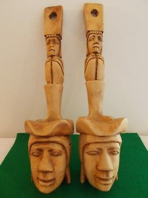 2 Vintage Handcarved Wooden Mask Wall Sculpture Decor, Bought Philippines,Unique 3