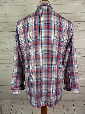 Mens Vtg Red/White/Blue Checked Polycotton Shirt Mod Indie Weller -L- DP74