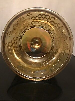 FAB! NORTHWOOD Marigold Grape & Cable Carnival Glass Butter Dish Signed 11