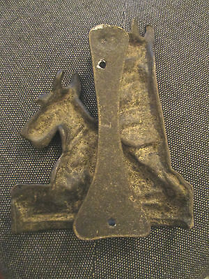 Large old Brass dog Aberdeen Terrier door knocker 2