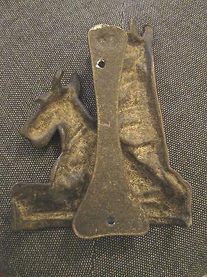 Large old Brass dog Aberdeen Terrier door knocker 2
