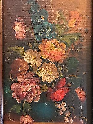 """Vintage Signed & Framed Original Oil on Board Floral in Vase Painting (6"""" X 12"""") 2"""