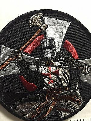 KNIGHT CRUSADER CROSS Red SWORD AXE Swing QUALITY EMBROIDERY Morale ARMY  PATCH