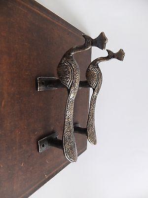 Vintage Antique Style Bird Solid Brass Pair Of Door Handles Pulls 3