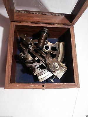 Brass Sextant German Marine Sextant With Wooden Box 2