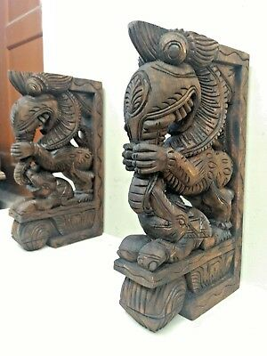 Wall Wooden Bracket Corbel Pair Temple Yalli Dragon Statue Sculpture Home Decor 8