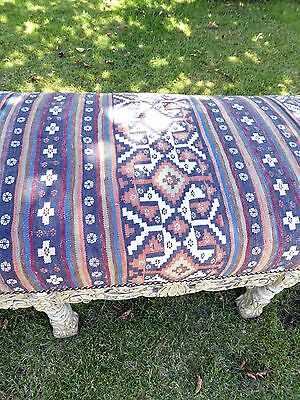 Large Ornate Painted Stool Length 5Ft 6 Aztec Carpet Upholstery  Free Shipping 9