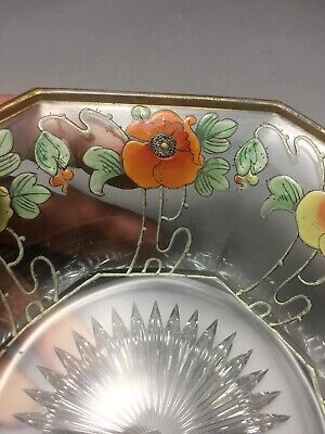 Incredible Heisey Glass Art Nouveau Poppies Flower Decorated Bowl 7