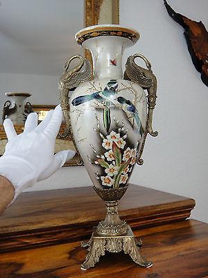 Luxus Jugendstil Blumenvase Porzellan Bronze Edel Pokal Amphore Prunk Vase Antik 3