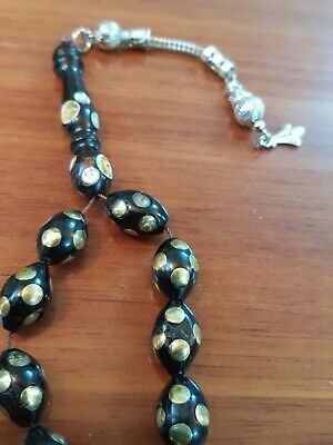 Black Coral Prayer Beads Yusr Rosary Inlaid With copper Masbaha Nu31 4