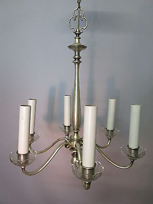 "Vintage Antique Silver Plate Chandelier Tudor Neo Classical Rewired 6 Arm 40"" 9"