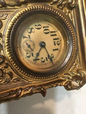 Antique Ornate Desk Or Carriage Clock W/ Rams Heads Ansonia Waterbury Era Parts 11