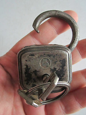Vintage Burg Sicherheitsschloss No. 10 Padlock - 2 Keys - Works Great - Tub Bba4 5