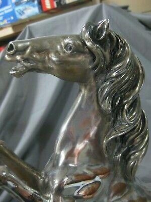 Espectacular Escultura Caballo De Bronce Con Baño De Plata-40 Cms-Made In Italy 9