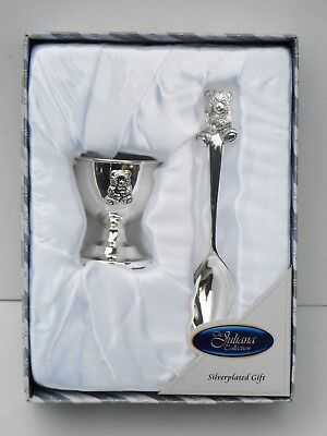 Sheffield-VINTAGE Silver Plated Egg Cup /& Spoon in Box Christening Set NEW!
