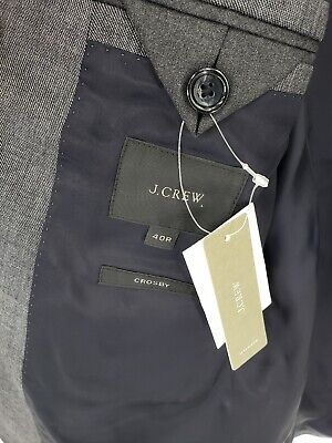 New J.Crew Crosby Suit Jacket Center Vent Gray Italian Worsted Wool Size 40R 3