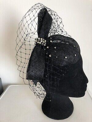 Black Diamanté Detail Fascinator Headband Weddings Christening Ladies Day Ascot 2