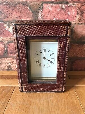 Antique French 1910 Brass & Glass Bevelled Travelling Carriage Mantle Clock 11