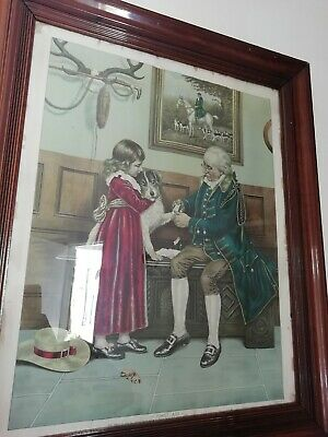 Antique Victorian First Aid Picture After Original Watercolour Frank Dadd 3