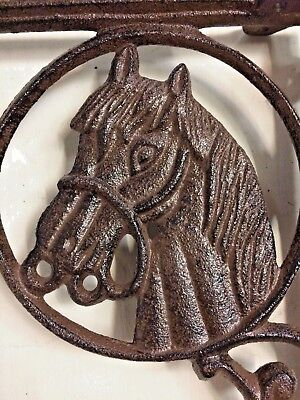 SET OF 2 WESTERN HORSE HEAD SHELF BRACKET BRACE, Rustic Brown Finish cast iron 3