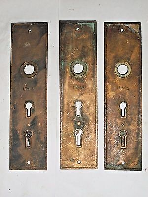 Antique Eastlake Double Key Entry Door Knob Backplates stamped 876A